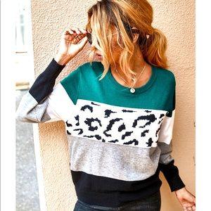 Crew Neck Color Block Leopard Sweater (unworn)